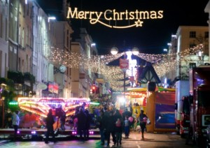 Merry Christmas in Fairy Lights in Leamington Parade